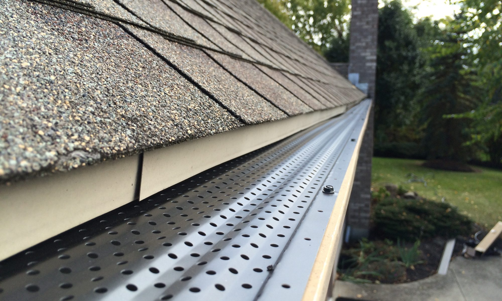gutter rx perforated aluminum gutter guard installed on 5 inch gutters