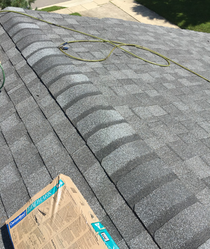 certainteed roof ridge cap shingles installed on new roof